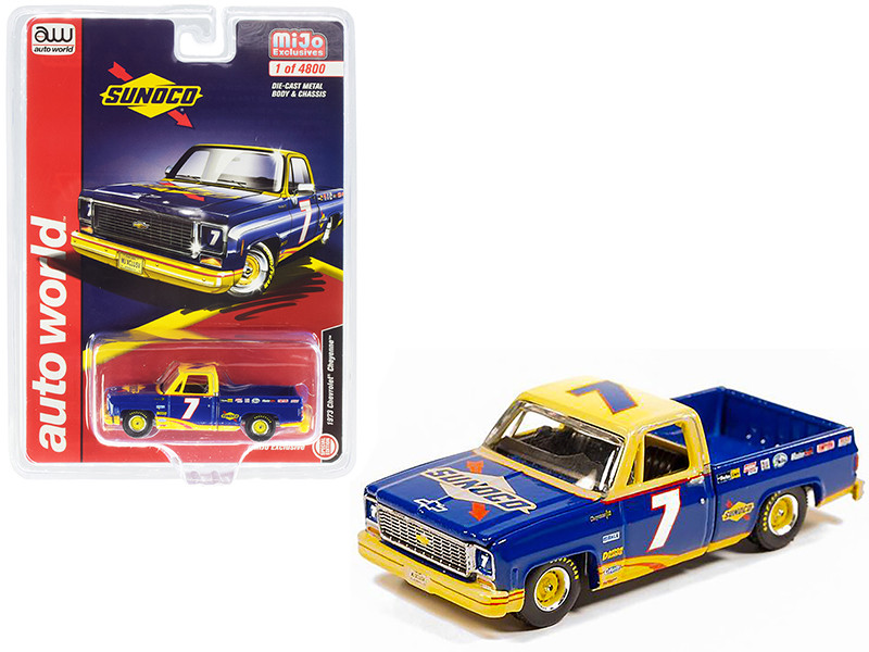 1973 Chevrolet Cheyenne Pickup Truck #7 Sunoco Dark Blue Yellow Limited Edition 4800 pieces Worldwide 1/64 Diecast Model Car Autoworld CP7671