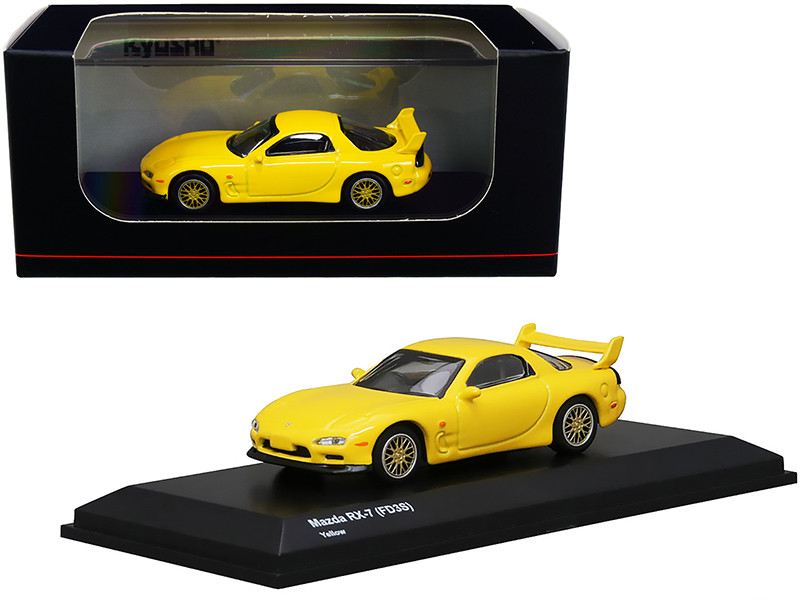Mazda RX-7 FD3S RHD Right Hand Drive Yellow Gold Wheels 1/64 Diecast Model Car Kyosho KS07033R7Y