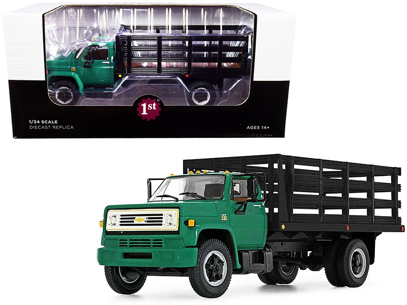 Chevrolet C65 Stake Truck Green Black 1/34 Diecast Model First Gear 10-4219