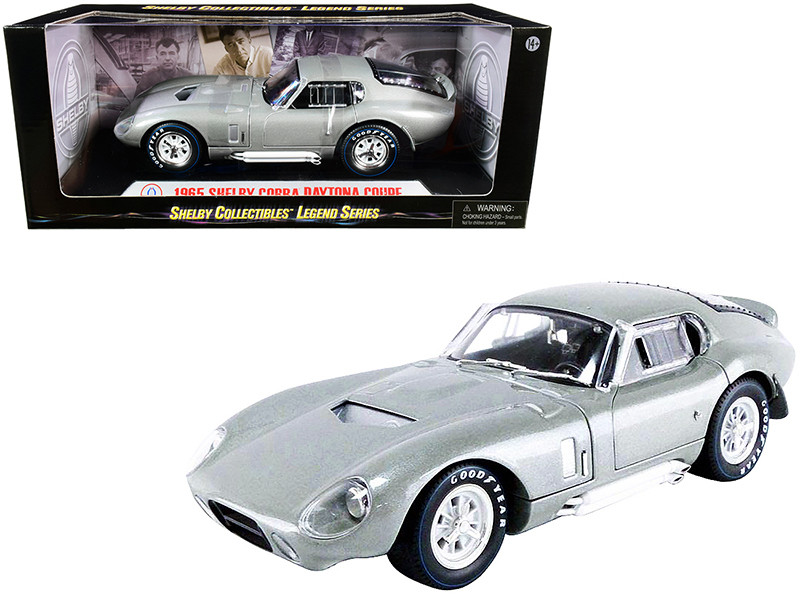 1965 Shelby Cobra Daytona Coupe Silver Metallic 1/18 Diecast Model Car Shelby Collectibles SC132
