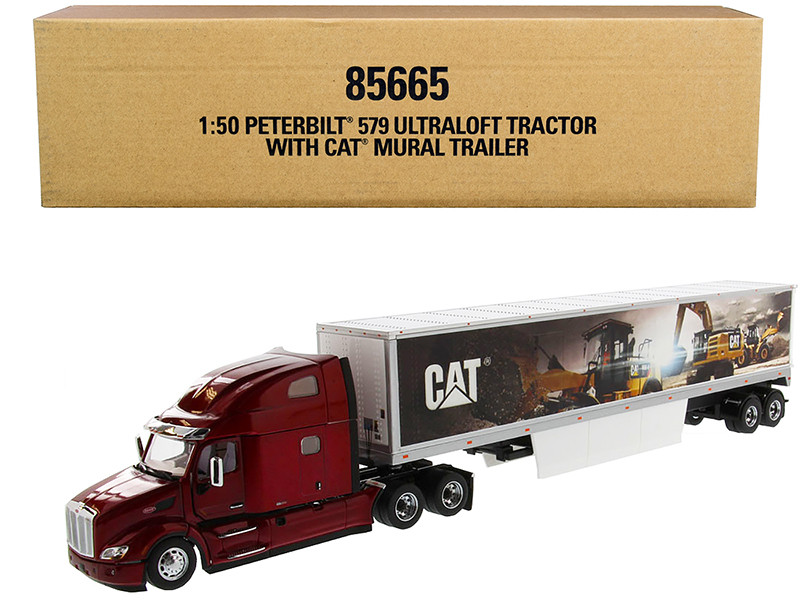 Peterbilt 579 UltraLoft Truck Tractor Red CAT Caterpillar Mural Dry Van Trailer Transport Series 1/50 Diecast Model Diecast Masters 85665