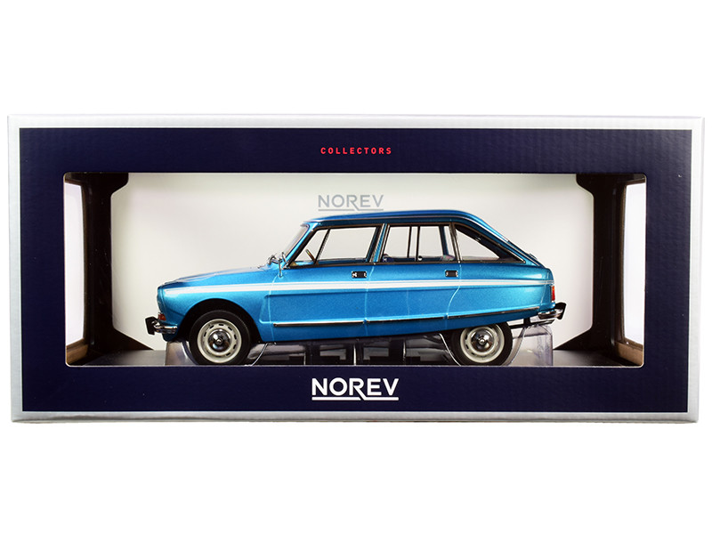 1974 Citroen Ami Super Delta Blue Metallic White Stripes 1/18 Diecast Model Car Norev 181672