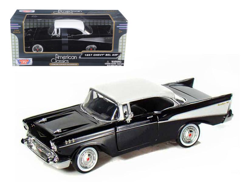 1957 Chevrolet Bel Air Black 1/24 Diecast Car Model Motormax 73228