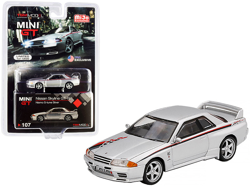Nissan Skyline GT-R R32 Nismo S-Tune RHD Right Hand Drive Silver Red Black Graphics Limited Edition 1200 pieces Worldwide 1/64 Diecast Model Car True Scale Miniatures MGT00107