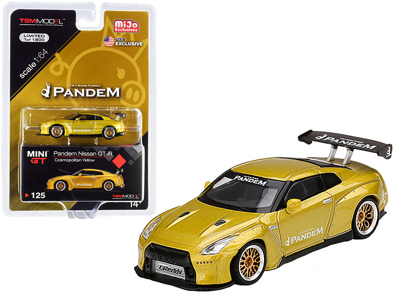 Nissan GT-R R35 Pandem GT Wing Cosmopolitan Yellow Metallic Gold Wheels Limited Edition 1800 pieces Worldwide 1/64 Diecast Model Car True Scale Miniatures MGT00125