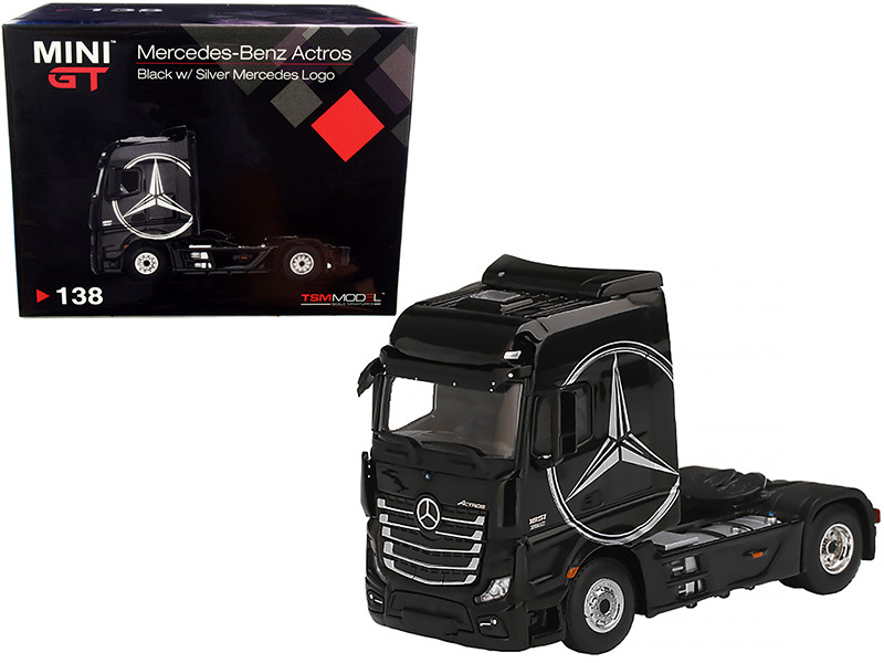 Mercedes Benz Actros Truck Tractor Black Silver Mercedes Logo 1/64 Diecast Model True Scale Miniatures MGT00138