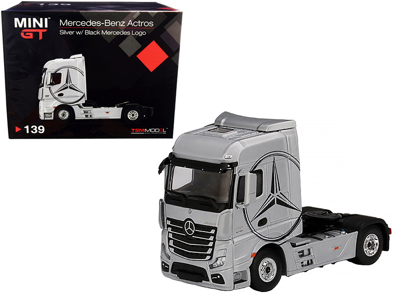 Mercedes Benz Actros Truck Tractor Silver Black Mercedes Logo 1/64 Diecast Model True Scale Miniatures MGT00139