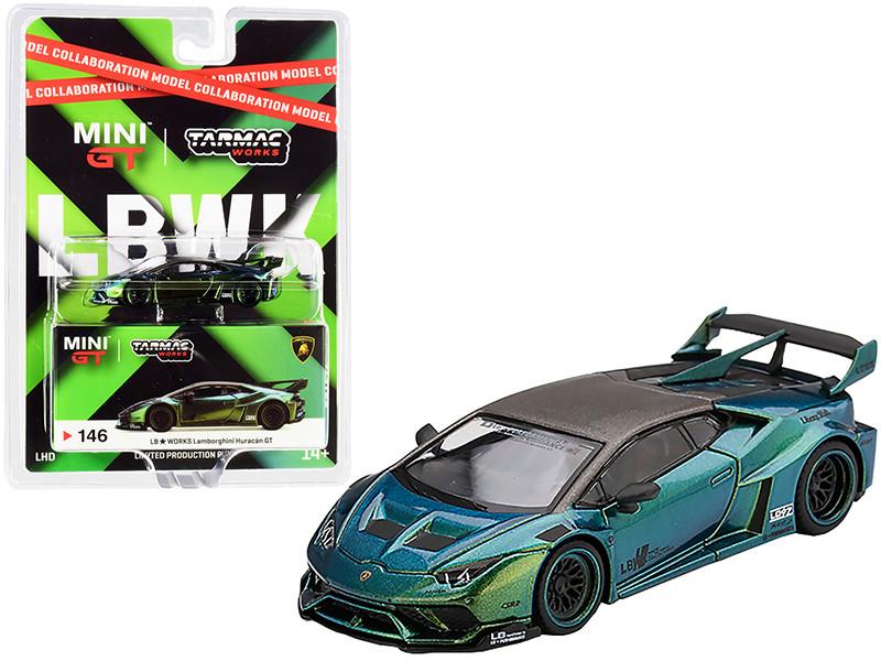 Lamborghini Huracan GT LB Works Magic Green Collaboration Model 1/64 Diecast Model Car Tarmac Works & True Scale Miniatures MGT00146
