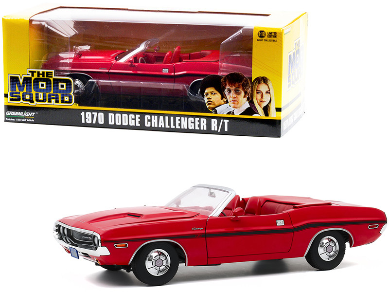 1970 Dodge Challenger R/T Convertible Rallye Red Red Interior Black Stripes The Mod Squad 1968 1973 TV Series 1/18 Diecast Model Car Greenlight 13565