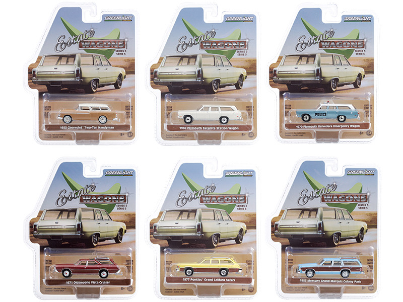 Estate Wagons 6 piece Set Series 5 1/64 Diecast Model Cars Greenlight 29990