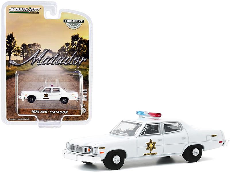 1974 AMC Matador White Hazzard County Sheriff Hobby Exclusive 1/64 Diecast Model Car Greenlight 30177