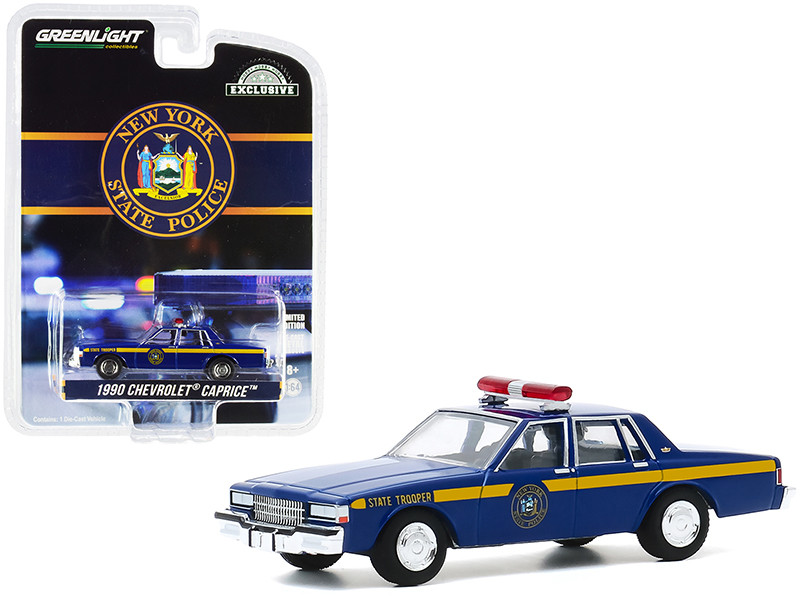1990 Chevrolet Caprice New York State Police Blue Yellow Stripes Hobby Exclusive 1/64 Diecast Model Car Greenlight 30180