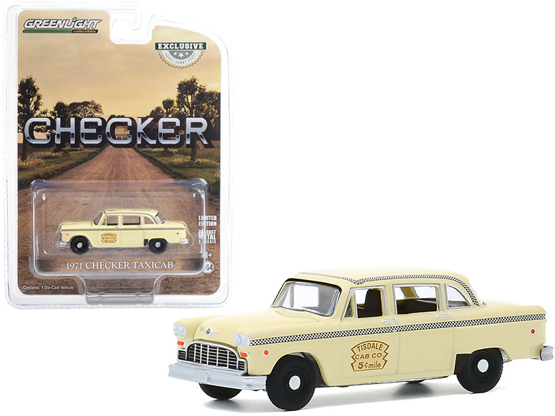 1971 Checker Taxicab Yellow Tisdale Cab Co Hobby Exclusive 1/64 Diecast Model Car Greenlight 30182