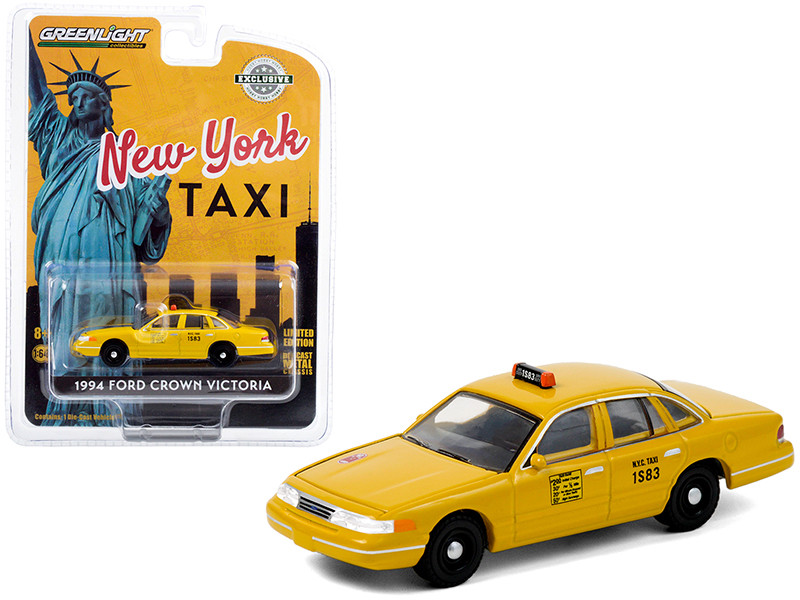 1994 Ford Crown Victoria Yellow NYC Taxi New York City Hobby Exclusive 1/64 Diecast Model Car Greenlight 30206