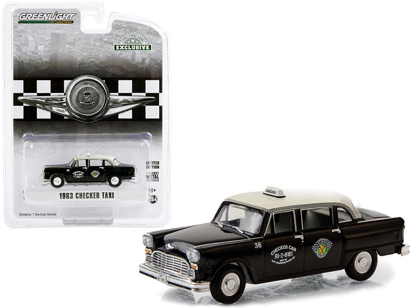 1963 Checker Taxi Black Cream Top Checker Cab Dallas Texas Hobby Exclusive 1/64 Diecast Model Car Greenlight 30207