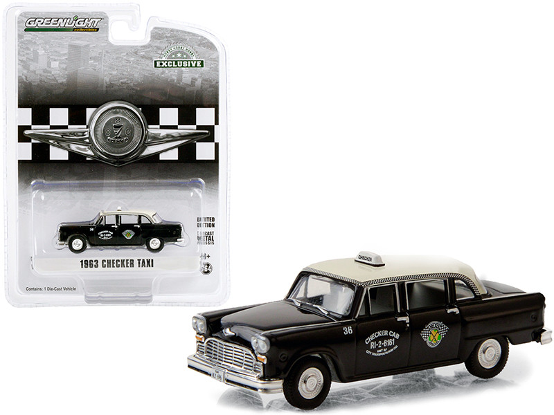 1963 Checker Taxi Black Cream Top Checker Cab Dallas Texas Hobby Exclusive 1/64 Diecast Model Car Greenlight 30207