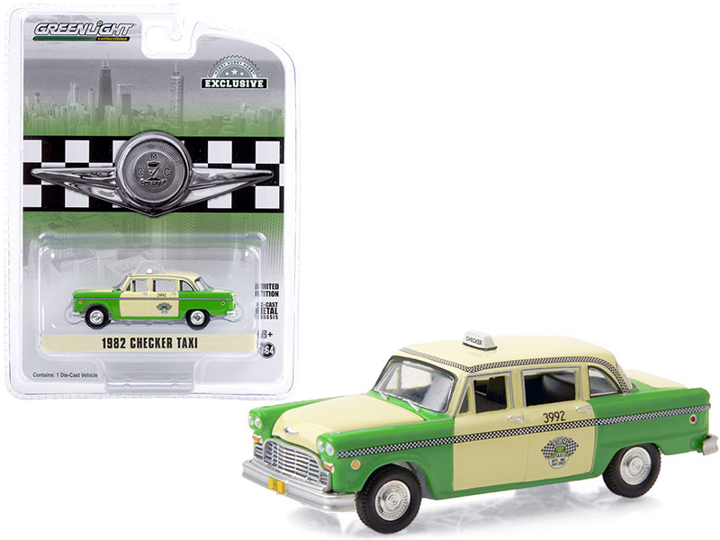 1982 Checker Taxi Green Yellow Checker Taxi Affl Inc Chicago Illinois Hobby Exclusive 1/64 Diecast Model Car Greenlight 30208