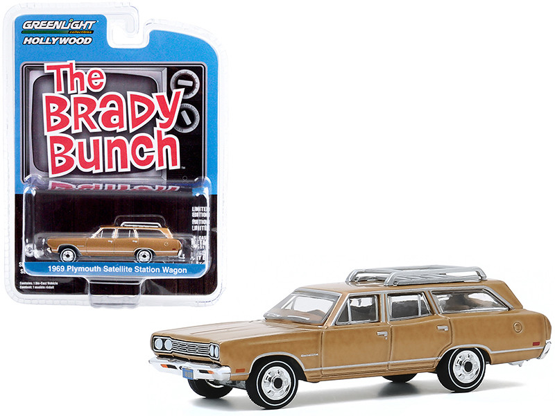 1969 Plymouth Satellite Station Wagon Roof Rack Gold Carol Brady's The Brady Bunch 1969 1974 TV Series Hollywood Series Release 29 1/64 Diecast Model Car Greenlight 44890 B