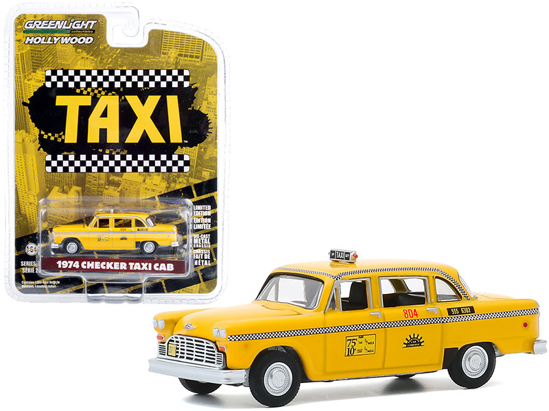 1974 Checker Taxi Cab #804 Yellow Sunshine Cab Company Taxi 1978 1983 TV Series Hollywood Series Release 29 1/64 Diecast Model Car Greenlight 44890 C