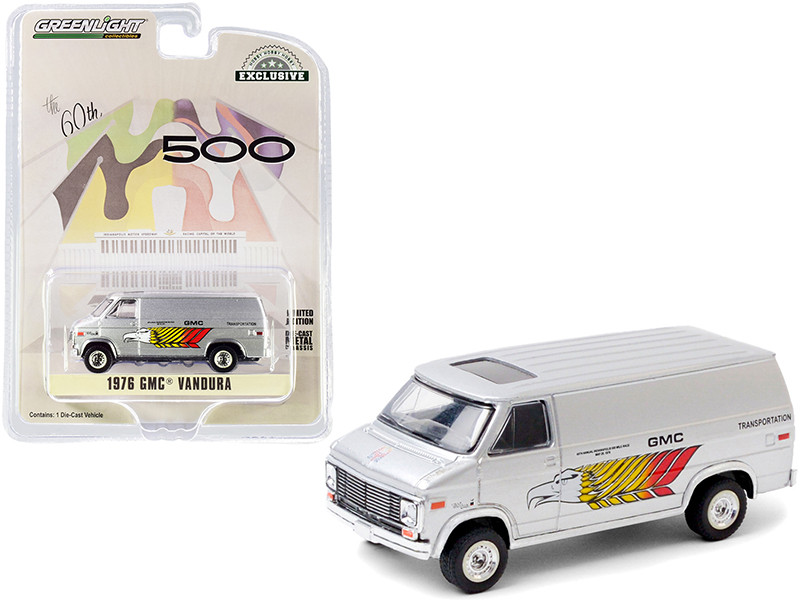 1976 GMC Vandura Silver GMC Transportation 60th Annual Indianapolis 500 Mile Race Hobby Exclusive 1/64 Diecast Model Car Greenlight 30198