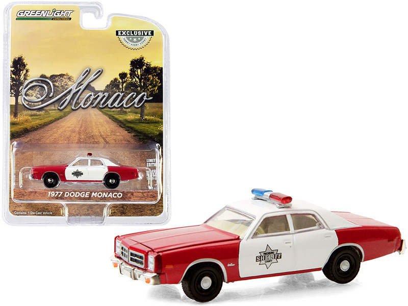 1977 Dodge Monaco Red White Finchburg County Sheriff Hobby Exclusive 1/64 Diecast Model Car Greenlight 30203