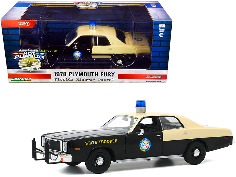 1978 Plymouth Fury Florida Highway Patrol Black Yellow Hot Pursuit 1/24 Diecast Model Car Greenlight 85512
