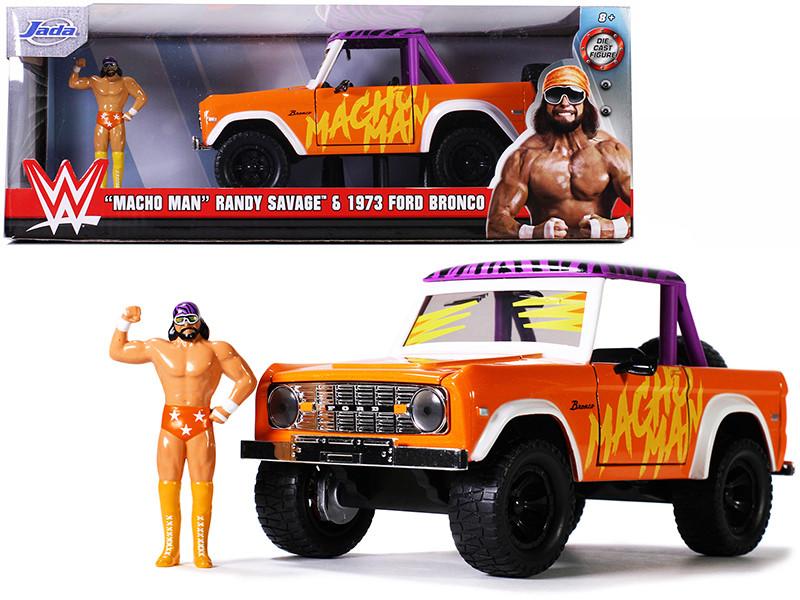 1973 Ford Bronco Pickup Truck Macho Man Randy Savage Diecast Figurine WWE 1/24 Diecast Model Car Jada 32046