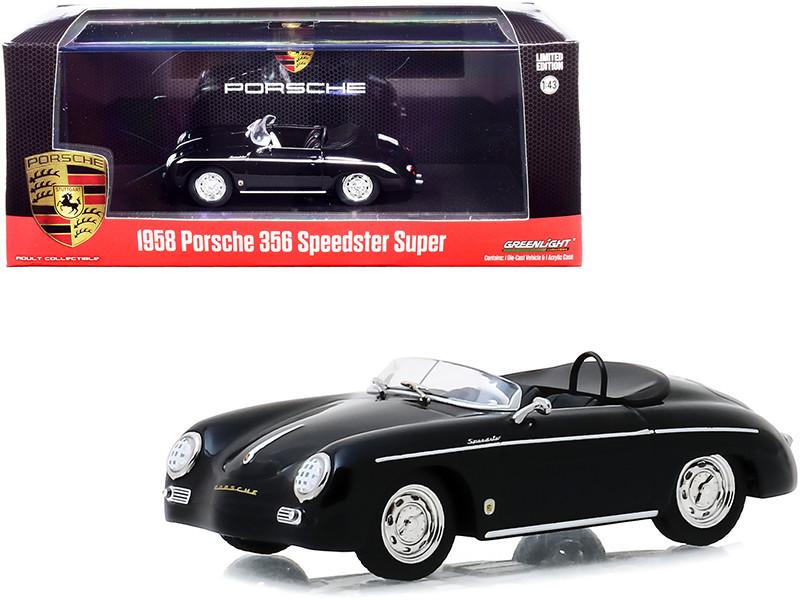 1958 Porsche 356 Speedster Super Black 1/43 Diecast Model Car Greenlight 86539