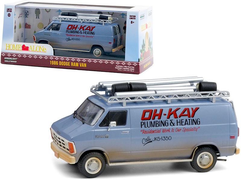 1986 Dodge Ram Van Blue Dirty Oh-Kay Plumbing & Heating Home Alone 1990 Movie 1/43 Diecast Model Greenlight 86560