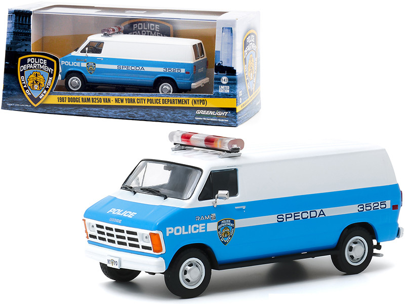 1987 Dodge Ram B250 Van Blue White New York City Police Department NYPD 1/43 Diecast Model Greenlight 86577