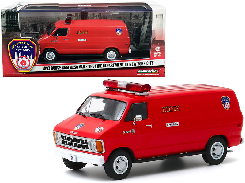 1983 Dodge Ram B250 Van Red Fire Department City of New York FDNY 1/43 Diecast Model Greenlight 86578
