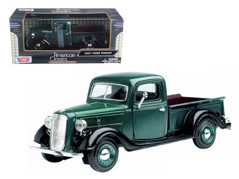 1937 Ford Pickup Truck Green 1/24 Diecast Car Model Motormax 73233