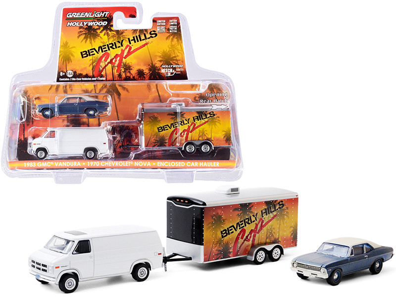 1983 GMC Vandura Van White 1970 Chevrolet Nova Blue Cream Top Unrestored Enclosed Car Hauler Beverly Hills Cop 1984 Movie Hollywood Hitch and Tow Series 8 1/64 Diecast Model Cars Greenlight 31100 A