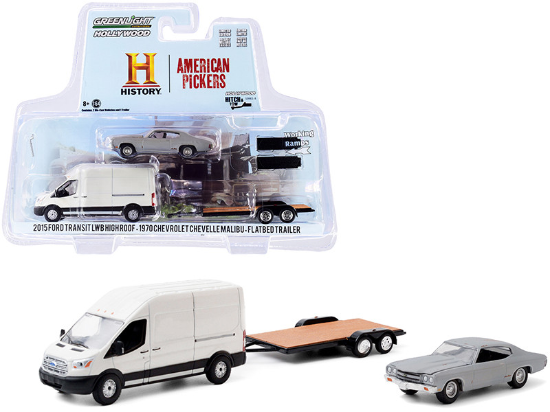 2015 Ford Transit LWB High Roof Van White 1970 Chevrolet Chevelle Malibu Gray Unrestored Flatbed Trailer American Pickers 2010 TV Series Hollywood Hitch Tow Series 8 1/64 Diecast Model Cars Greenlight 31100 B