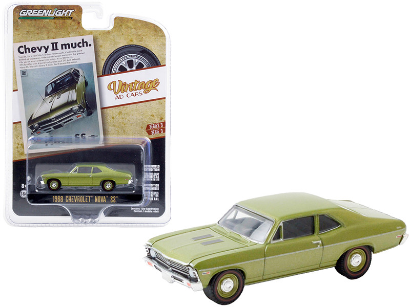 1968 Chevrolet Nova SS Green Metallic Chevy II Much Vintage Ad Cars Series 3 1/64 Diecast Model Car Greenlight 39050 A