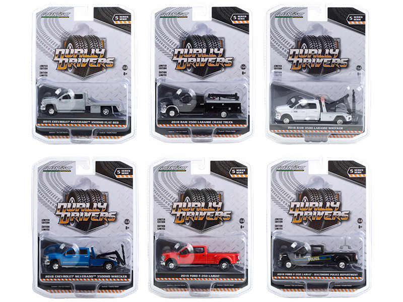 Dually Drivers Set of 6 Trucks Series 5 1/64 Diecast Model Cars Greenlight 46050