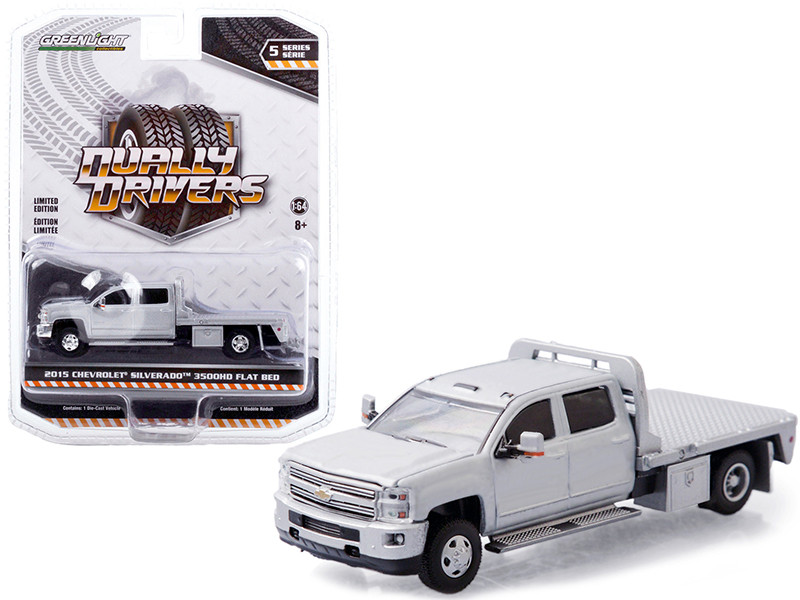 2015 Chevrolet Silverado 3500HD Dually Flatbed Truck Silver Ice Metallic Dually Drivers Series 5 1/64 Diecast Model Car Greenlight 46050 A