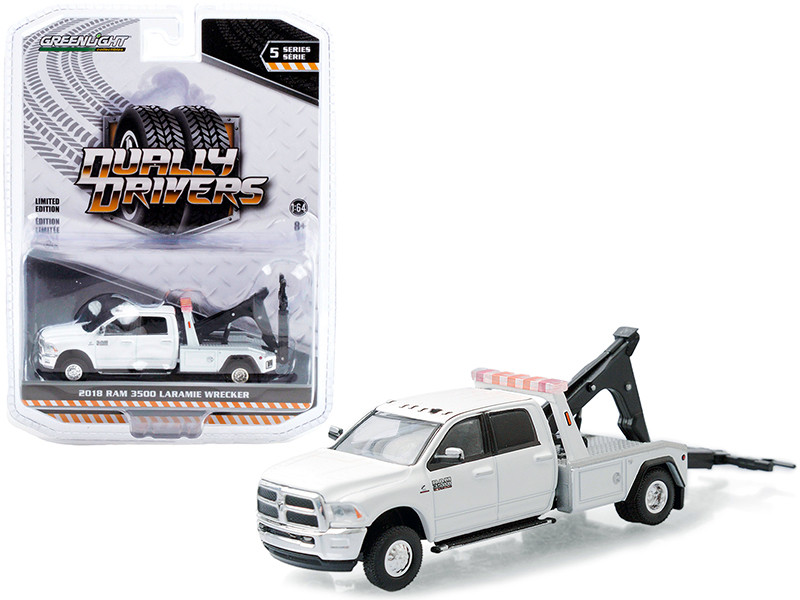 2018 Ram 3500 Laramie Dually Wrecker Tow Truck Bright White Dually Drivers Series 5 1/64 Diecast Model Car Greenlight 46050 C