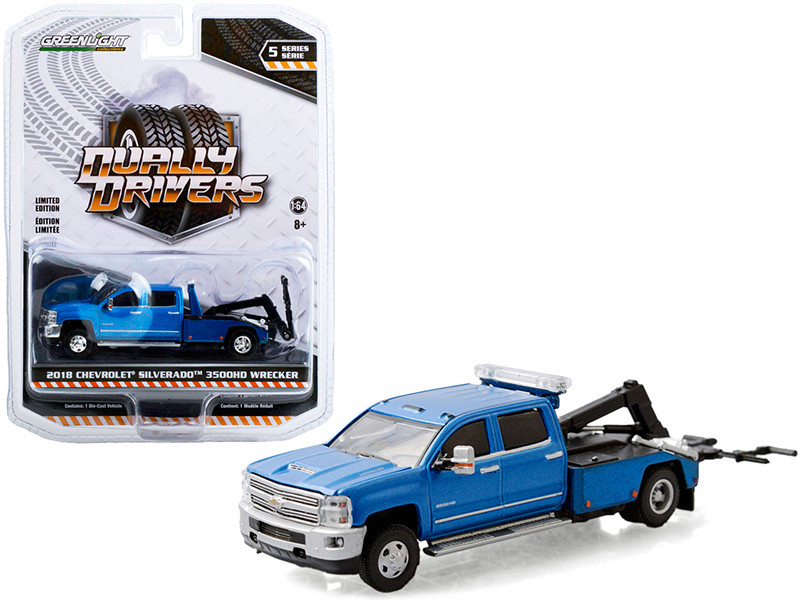 2018 Chevrolet Silverado 3500HD Dually Wrecker Tow Truck Blue Dually Drivers Series 5 1/64 Diecast Model Car Greenlight 46050 D
