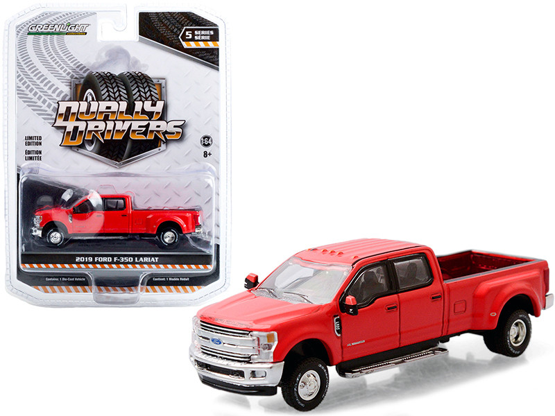 2019 Ford F-350 Lariat Dually Pickup Truck Race Red Dually Drivers Series 5 1/64 Diecast Model Car Greenlight 46050 E