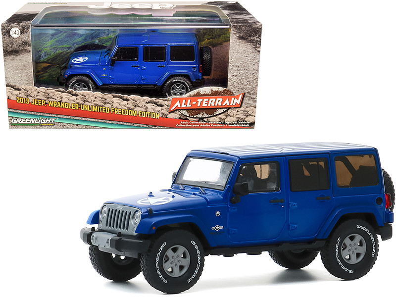 2013 Jeep Wrangler Unlimited Freedom Edition True Blue All-Terrain Series 1/43 Diecast Model Car Greenlight 86185