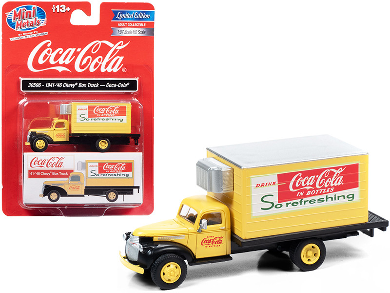 1941 1946 Chevrolet Box Truck Yellow Coca Cola 1/87 HO Scale Model Classic Metal Works 30596