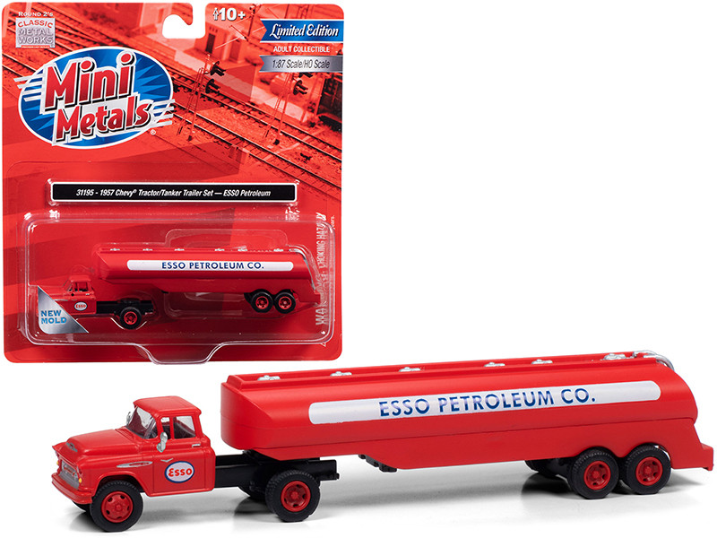 1957 Chevrolet Truck Tractor Tanker Trailer Red ESSO Petroleum Co 1/87 HO Scale Model Classic Metal Works 31195