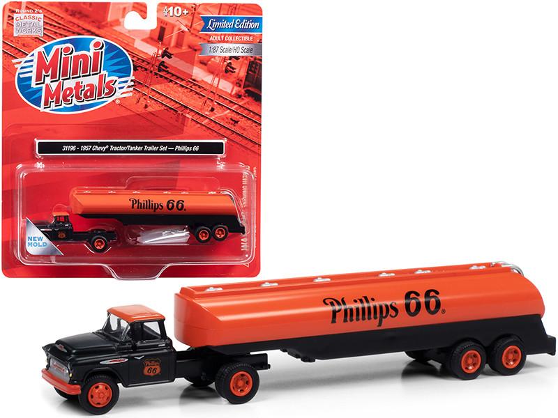 1957 Chevrolet Truck Tractor Tanker Trailer Black Orange Phillips 66 1/87 HO Scale Model Classic Metal Works 31196