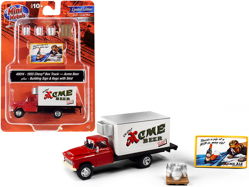 1955 Chevrolet Box Truck Red White Building Sign 3 Beer Kegs Skid Acme Beer 1/87 HO Scale Models Classic Metal Works 40014