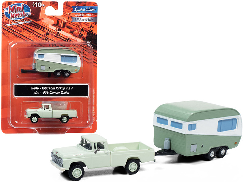 1960 Ford 4x4 Pickup Truck 1950's Camper Travel Trailer Adriatic Green 1/87 HO Scale Model Car Classic Metal Works 40016