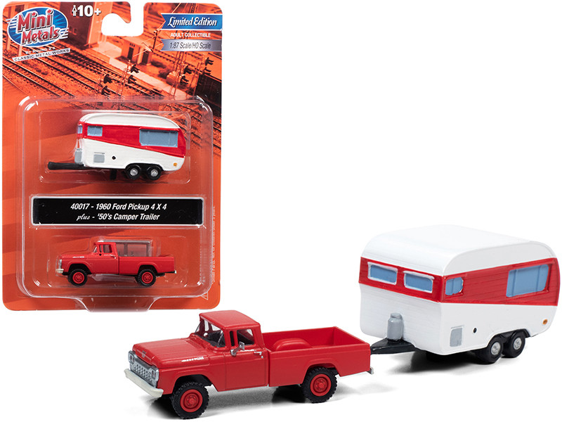 1960 Ford 4x4 Pickup Truck 1950's Camper Travel Trailer Monte Carlo Red 1/87 HO Scale Model Car Classic Metal Works 40017