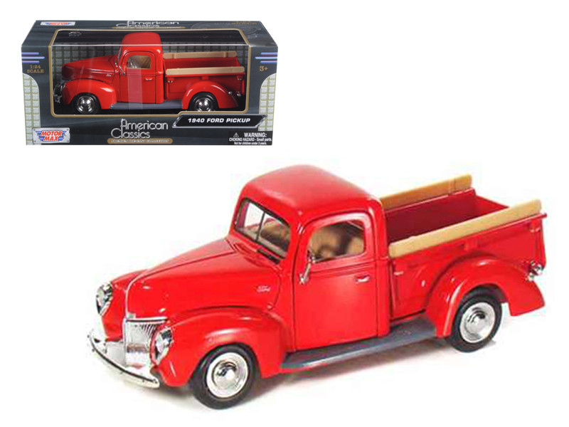 1940 Ford Pickup Red 1/24 Diecast Model Car Motormax 73234
