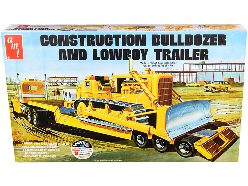 Skill 3 Model Kit Construction Bulldozer Lowboy Trailer Set of 2 pieces 1/25 Scale Model AMT AMT1218