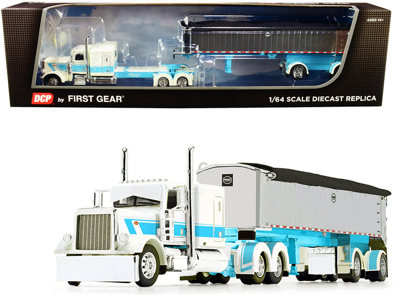 "Peterbilt 389 63"" Flattop Sleeper Cab Cream Light Blue MAC Coal End Dump Spread-Axle Trailer Chrome STS Transit 1/64 Diecast Model DCP First Gear 60-0827"